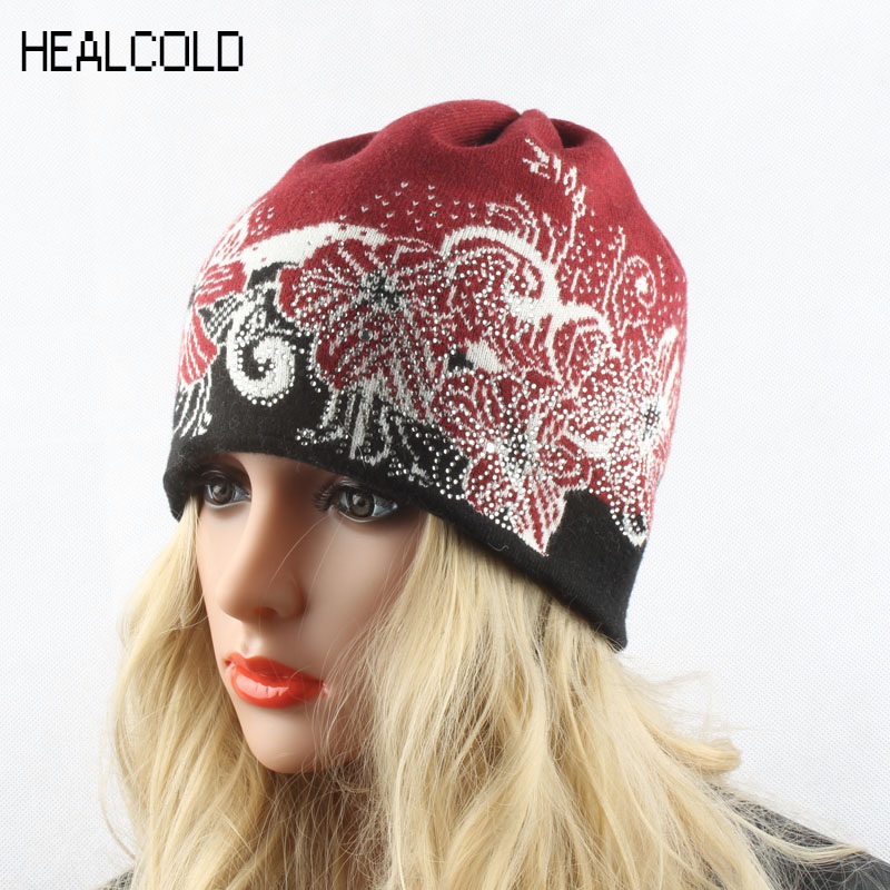 Winter   Beanies   For Women Wool Cashmere Hats Knitting Casual Warm Cap Ladies   Skullies   Diamond