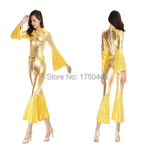 338e48568a2 Wholesale Fashion Rompers Sexy PVC Lady Gaga Costume Yellow Flare Sleeve  Catsuit Latex Shiny Club Stage Leather Bodycon Jumpsuit