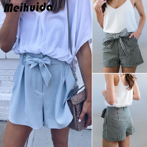 2018 New Fashion Hot Sexy Charming Womens High Waist Tie Belt Shorts Ladies Summer Trousers Size 6 - 14