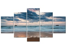 5 Panel Painting On Canvas Wall Pictures Decor Sea Wave Beach Seascape Art For Living Room Framed J009-058