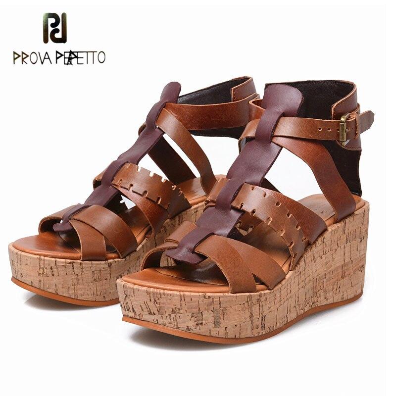 Prova perfetto, zapatos de verano de Tacón de Cuña con plataforma plana de color mixto de cuero genuino para mujer, sandalias con punta abierta, sandalias romanas