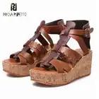 Prova perfetto, zapatos de verano de Tacón de Cuña con plataforma plana de color mixto de cuero genuino para mujer, sandalias con punta abierta, sandalias romanas - 1