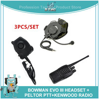 Z Tactical Military Bowman Evo III Headsets Bowman Elite II Military Headset PTT for baofeng BF 888S Walkie Talkie Kenwod Z029