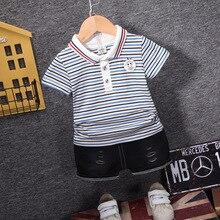 цена на Infant Baby Boys Clothes Autumn 2pcs Newborn Kids Sets Suit Striped Cotton Tracksuit Outfits for Toddle Boys Clothing Set