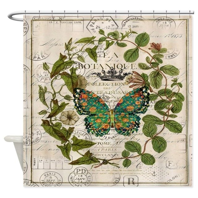 Vintage Botanical Art Butterfly Decorative Fabric Shower Curtain For The Bathroom With 12 Hooks