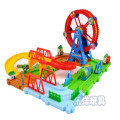 Kid's Soft Electronic Railway Slot Train DIY Assembling block Set 48pcs with Ferris wheel in gift box brinquedo speelgoed jouet