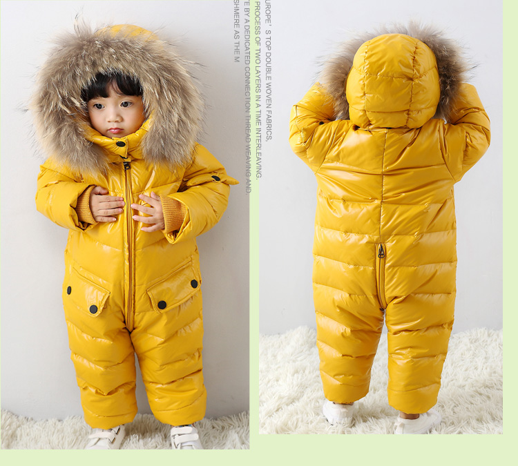 5844b5fba507 2~5T Russian Winter Baby Down Romper Girls Snowsuit Outdoor Overalls for Boy  Kids Snow Outfit Bebe Real Animal Fur Hood Rompers-in Down   Parkas from  Mother ...