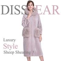 Зимние стрижки овец куртка с лисьим мехом карман Модные женские туфли Шерстяное пальто с натуральным лисьим мехом с капюшоном Для женщин Ду