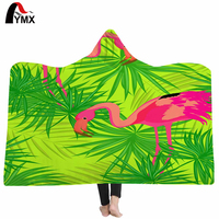 FYMX Tropic Leaves Hooded Blanket Sherpa Fleece Wearable Throw Blanket 130cm 200cm Super Soft Wrapped Blanket For Adults Kids