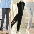 Fast Shipping Women Lace Flower Pant Leggings Slim Elastic Ankle Length Trousers