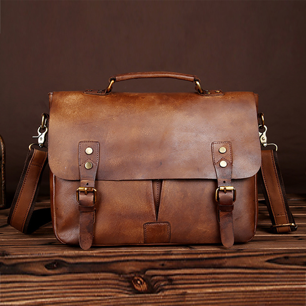 New Vintage Cowhide Genuine Leather Men Handbag Laptop Tote Bag Business Briefcase Male Casual Shoulder Crossbody Messenger Bags genuine leather crossbody messenger shoulder bag men business cowhide tote high quality travel casual male bags lj 962