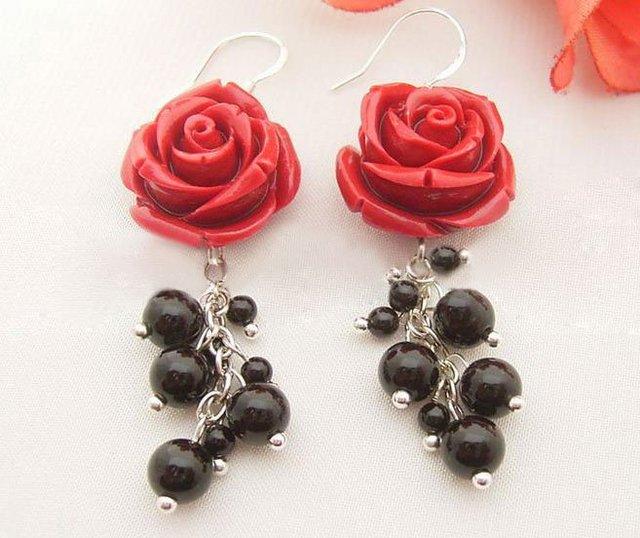 Flor de Coral y Onyx pendientes de perlas-925 astilla Hook envío libre