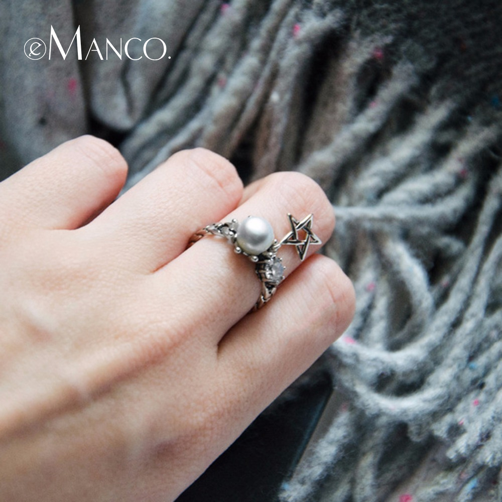 E-Manco 925 Sterling Silver Star Chain Rings Zircon Freshwater Pearl Rings Wedding&Engagement Wholesale New Arrival