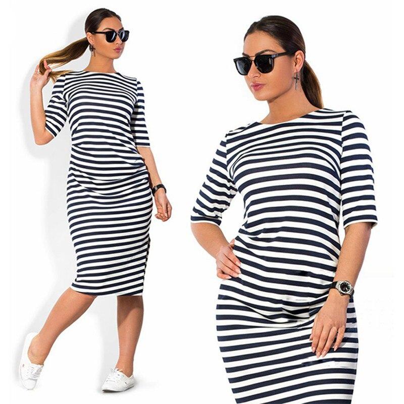 Plus Size Summer Dresses Casual Loose Striped Tshirt Dress Vestidos De Verano Maxi robe femme ete 2016 Work Ladies Dresses Retro