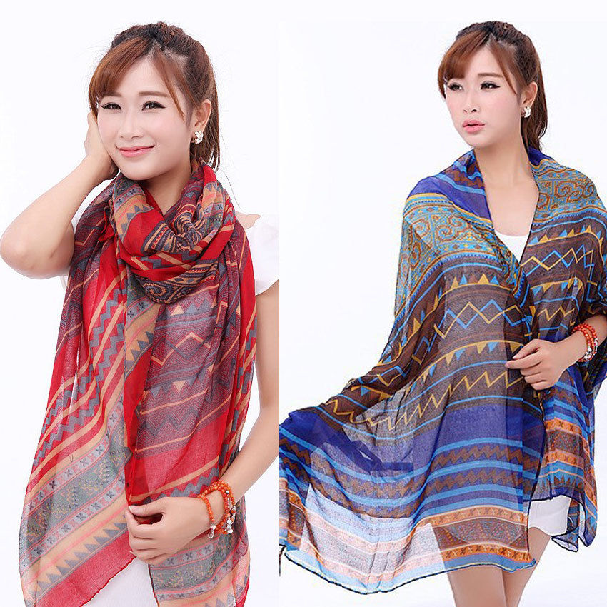 2017 New Arrival New Blue Red Fashion Aztec Long Tribal Printed Women Scarfs Ladies Scarves Hot Free Shipping