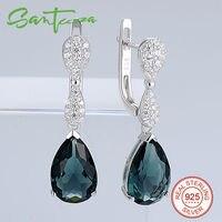 Silver Drop Earrings For Women Pear Blue Stone And White CZ Diamond Women Earrings Pure 925