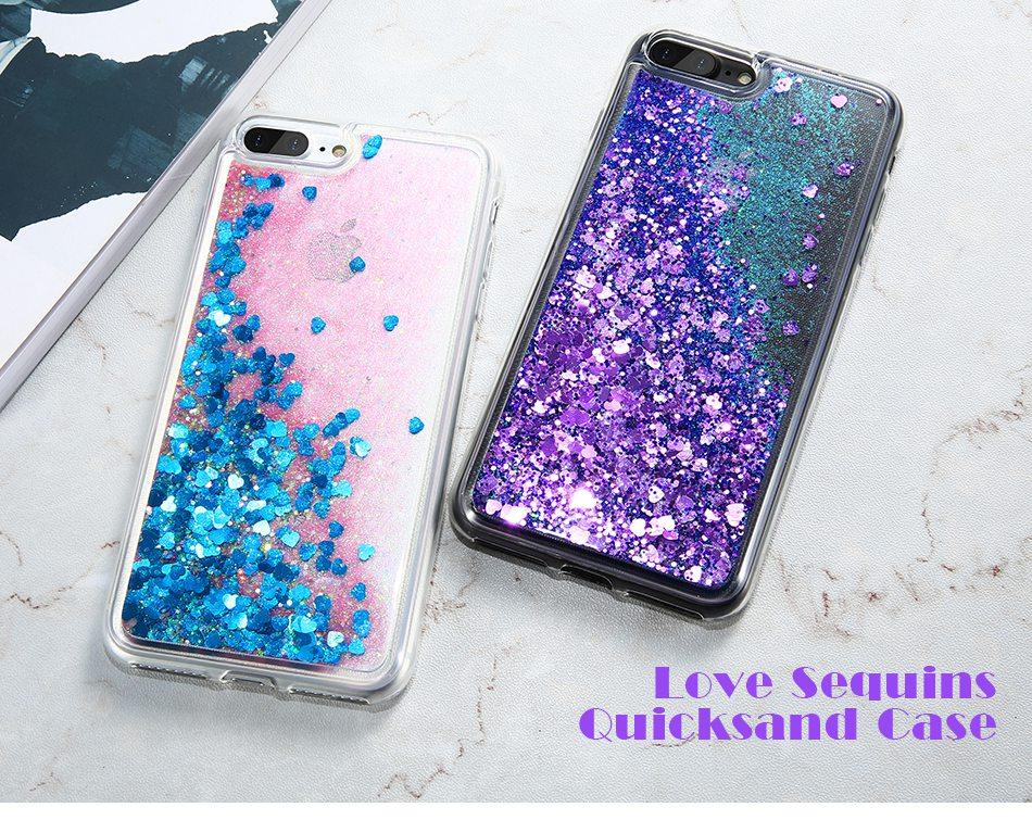 iPhone 7 Plus的闪光灯Quicksand Cover适用于iPhone 6 6S Plus 5 5S SE Sequin硅胶手机套(1)