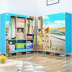 Image 4 - 3D schilderen Geweven stof kasten Stalen frame versterking Staande Organizer closet kast thuis slaapkamer meubels