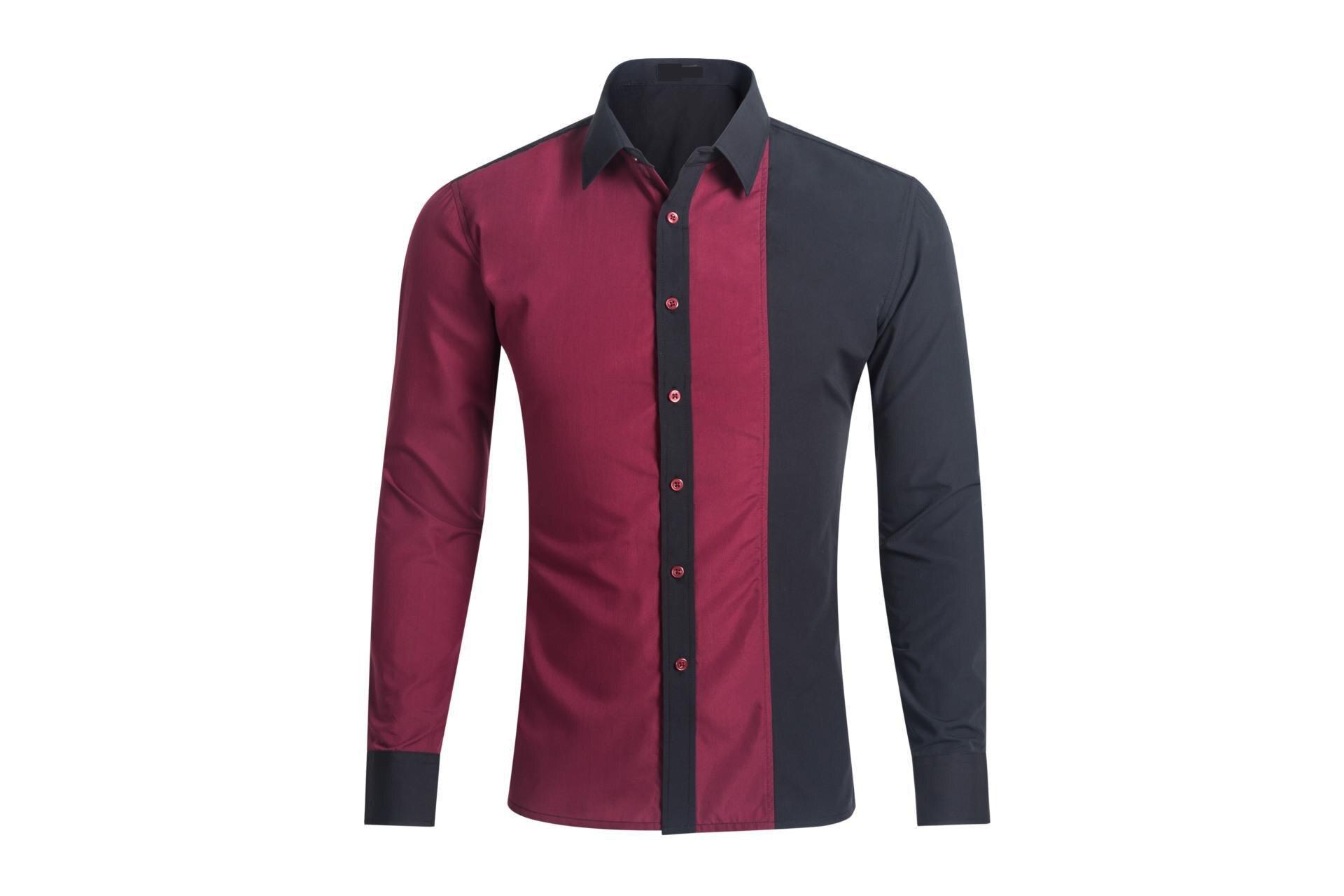 Shirt design of man - 2017 New Fashion Casual Men Shirt Long Sleeve Patchwork Slim Fit Shirt Men High Quality Cotton Men Designer Shirts Men Clothes In Casual Shirts From Men S