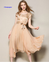 New Arrival Pure Silk Lady Square Neckline Short Sleeve Summer Dress 100 Silk Zipper Double Layered