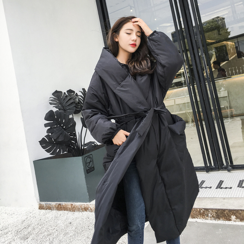 Winter super longer over the knee 90% real duck   down     coat   female fashion brand hooded with belt was thin warm   down     coat   wq511