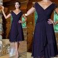 Vestido de Madrinha 2016 vestido de Mãe de Vestido de Noiva V pescoço Curto Chiffon Plissados Frisada Mãe Do Noivo Vestido de manga Vestido mae da Noiva