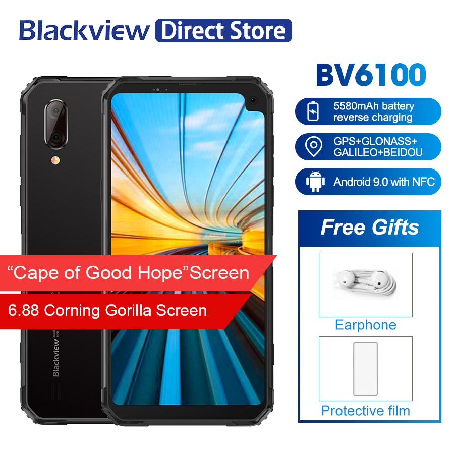 "Blackview BV6100 IP68 Waterproof Mobile Phone 3GB+16GB Android 9.0 Outdoor Cellphone 6.88"" Screen 5580mAh Rugged Smartphone NFC(China)"