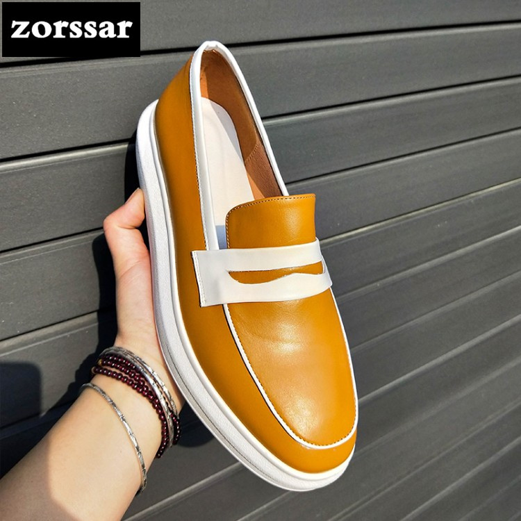 {Zorssar} 2018 Real cow leather Leisure Women flat platform Shoes Fashion Casual Sneakers shoes Flats Loafers Female Moccasins fashion loafers women flat platform shoes moccasins air mesh round toe ladies footwear women summer casual shoes female dc64