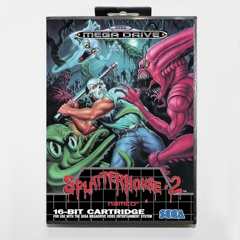 Sega MD games card - Splatter House 2 with box for Sega MegaDrive Video Game Console 16 bit MD card