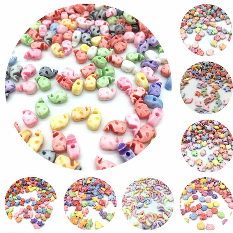 100pcs/Lot Cheap Animals Shape Acrylic Beads DIY Handmade Bracelet Jewelry Accessories Making Wholesale Color Random Delivery