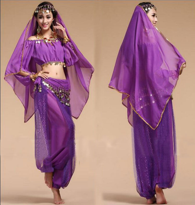 Bollywood Dance Costumes Indian Belly Dance Costumes Set For Women Chiffon Bollywood Orientale Belly Dance Costume Set For Woman