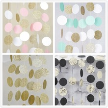 1pc Gold Pink White Hanging Circle Garland Glitter Dots Star Paper Banner Baby Shower Wedding Kids Birthday Party Decorations 11 feet rose gold glitter circle dot garland paper banner hanging backdrop christmas birthday party wedding decoration shower