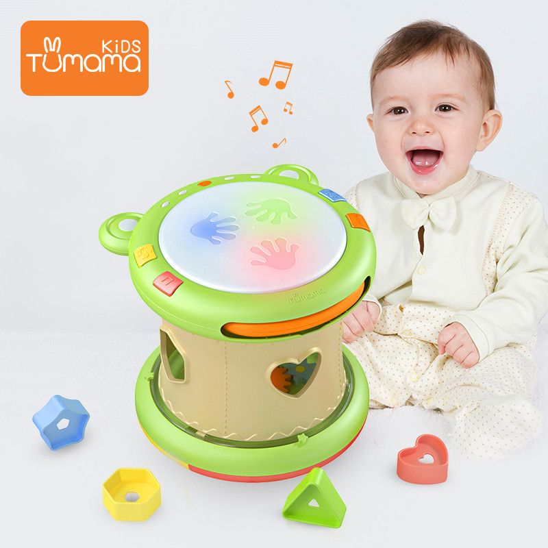 Tumama Baby Music Toys Hand Drums Children Musical Instruments Pat Drum Baby Toys 6-12 Months Educational Toys Children Kids(China)