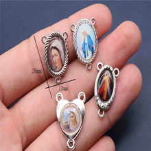Catholic rosary necklace triangle medallion attachment. Various Saint Mary Jesus Christ icon triangle necklace rosary medal