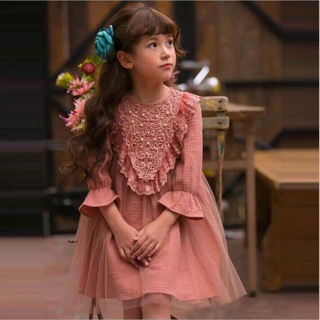 9fa3f26d5fda Hot sale vintage baby girls cotton linen flare sleeve tulle dress ...