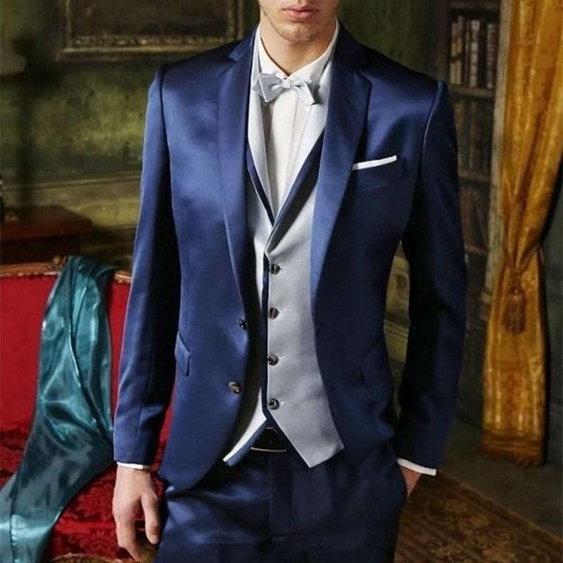 2017 العريس سهرة لامعة الأزرق الداكن رفقاء العريس الشق طية صدر السترة الزفاف عشاء الدعاوى أفضل رجل العريس بدلة (سترة + السراويل + التعادل + سترة)-في بدلة من ملابس الرجال على  مجموعة 1