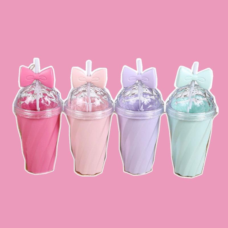 400ML Fruit Juice Lovely Girl Travel Water Bottle with Lid Straw Portable For Girls Gift
