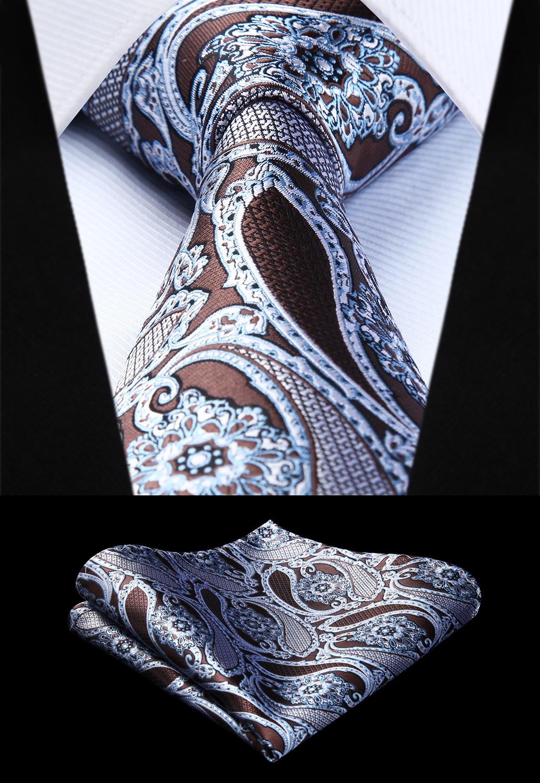 Woven Men Tie Brown White Paisley Necktie Handkerchief Set# TP944U8S Party Wedding Classic Pocket Square Tie