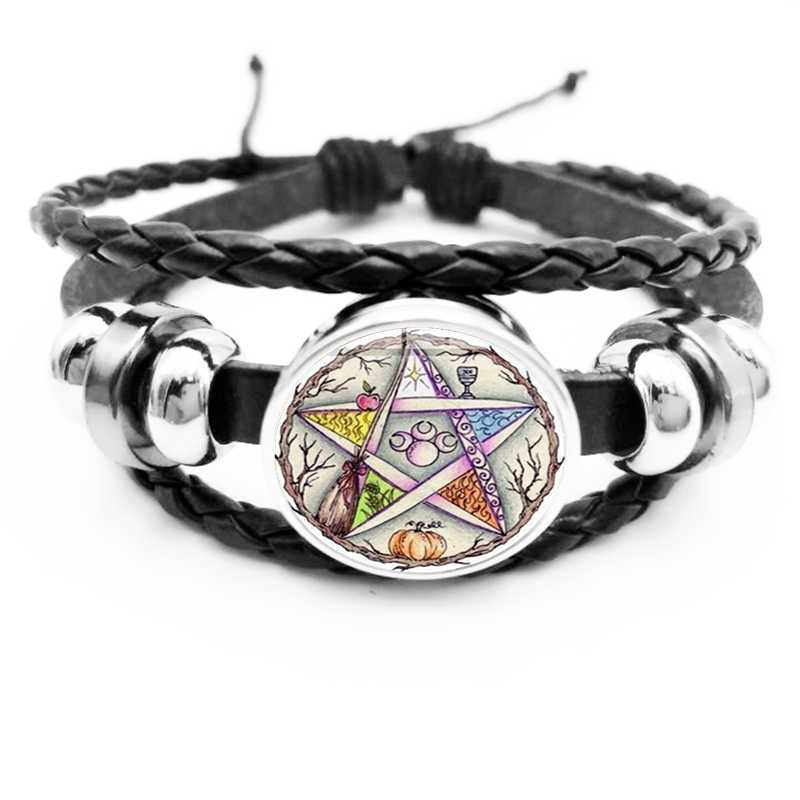 2019 / Esoteric Pentagram Black Leather Bracelet Vintage Wicca Star Tree of Life Crystal Glass Snap Bracelet