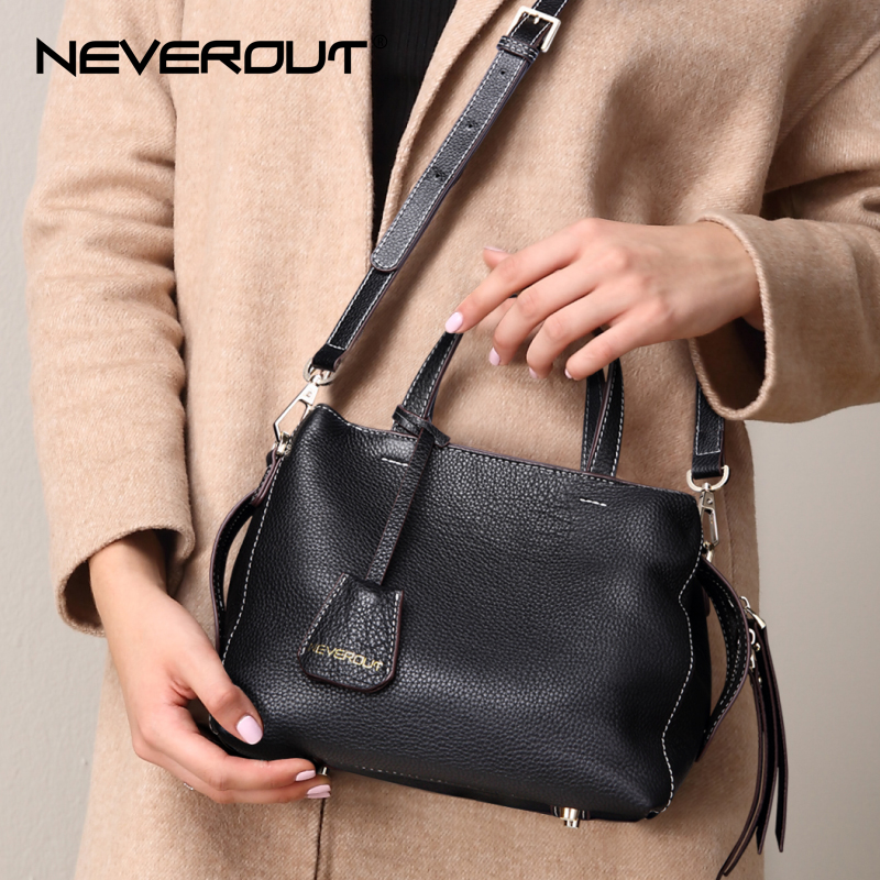 NEVEROUT Brand Name Women's Soft Genuine Leather Handbags Solid Shoulder Sac Ladies Small Crossbody Purse Casual Zipper Handbag new version motorcycle adjustable cnc aluminum brakes clutch levers set motorbike brake for yamaha vmax 2003 motor accessories