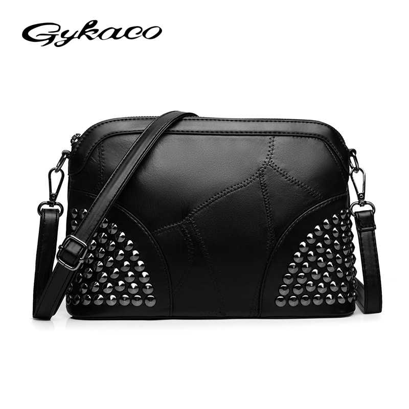 Gykaeo Winter 2017 Women Vintage Rivet Shell Shoulder Bag Ladies Black  Messenger Bags Female Casual Retro d4af8500b8dd