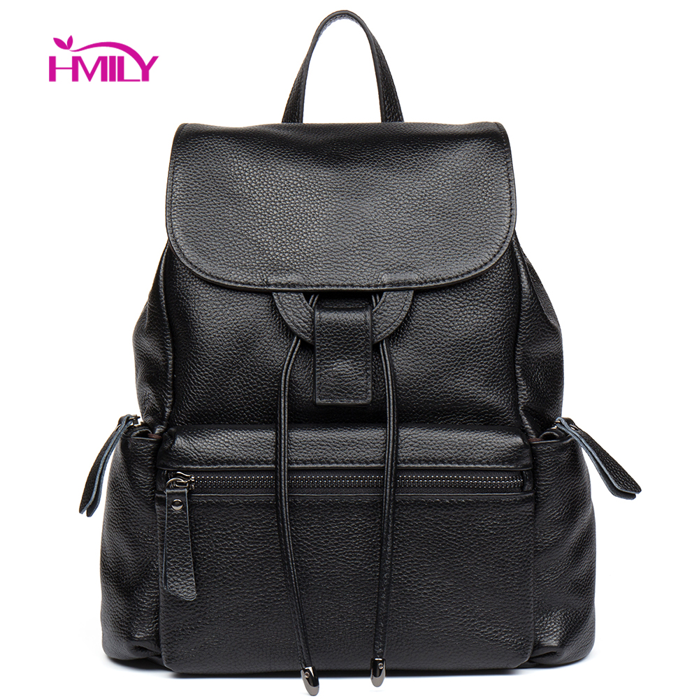 Hmily Backpack Female Genuine Leather Women Dayback Natural Leather Daily Women Bag Trendy Classic Ladies Shoulder Bag