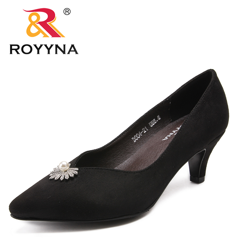 ROYYNA New Classics Style Women Pumps Flock Femme Dress Shoes Pointed Toe Feminino Party Shoes Thin Heels Female Wedding Shoes newest flock blade heels shoes 2018 pointed toe slip on women platform pumps sexy metal heels wedding party dress shoes