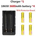 2016 Nuevo 4 Unids Protegido 18650 3600 mAh Batería Recargable 3.7 v Cargador de Batería de iones de Litio Con 1 Unids por el Doble 18650 Batteria