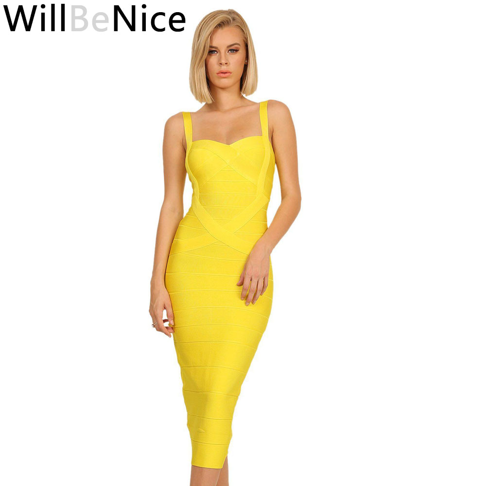 WillBeNice Yellow Mid Calf 2018 New Arrival Spaghetti Strap Sweetheart V Neck Sexy Lady Long Celebrity Bodycon Bandage Dresses
