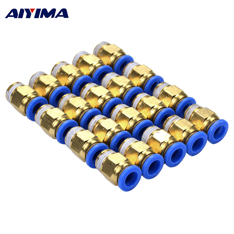 AIYIMA 20pcs Pneumatic Connectors Male Straight One-touch Fittings BSPT SNS PC8-02.Thread Size:1/4.Tube Size:8mm brass pneumatic pipe 1 4 bspt to 1 4 bspt male thread m m equal union hex nipple