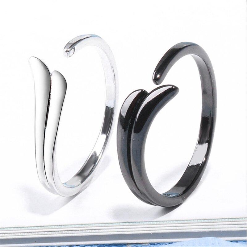 2019 estilo coreano 925 Plata de Ley amor pájaro ala pareja anillo de compromiso para los amantes negro envío gratis orsa boda GMNR196