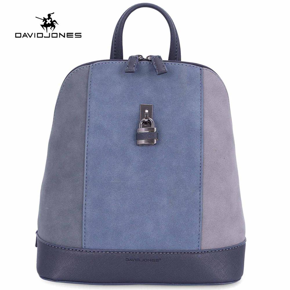 DAVID JONES women backpacks faux leather female shoulder bags small lady patchwork school bag girl brand softpack free shipping