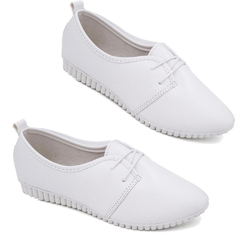 LIN KING New Spring Autumn Women Flats Casual Shoes Pointed Toe Lace Up Ankle Loafers Comfortable Ladies Work Shoes Mother Shoes in Women 39 s Flats from Shoes