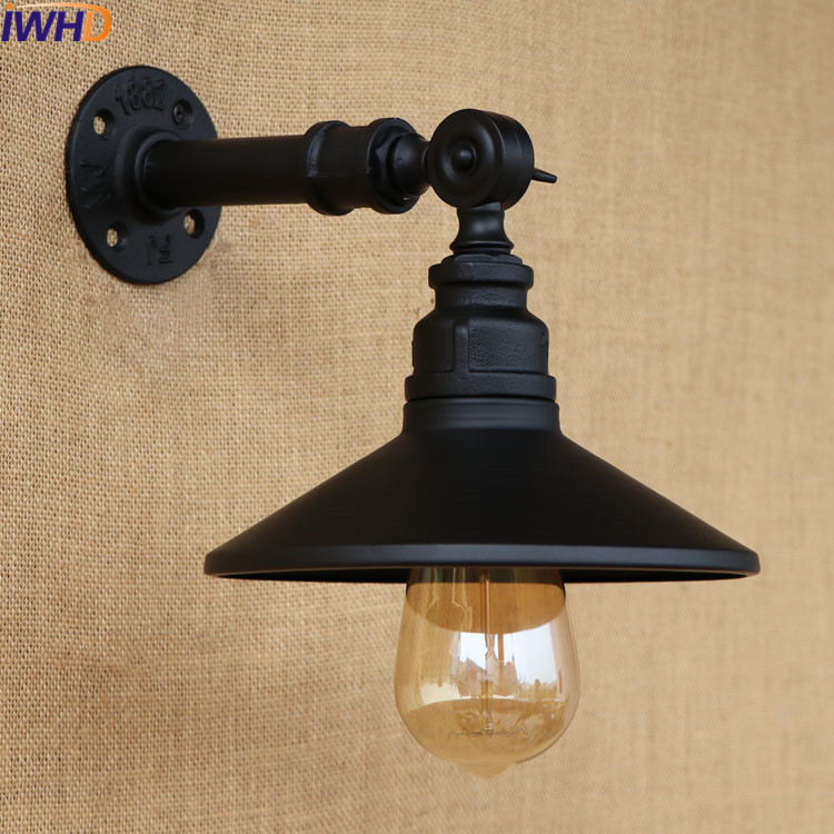 E27 Steam Punk Loft Industrial Iron Rust Water Pipe Black Retro Wall Lamp Sconce Lights For Living Room Bedroom Restaurant Bar loft steam punk big sword style decorative iron rust water pipe wall lamp vintage e27 led sconce lights for living room bedside
